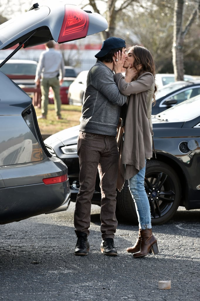 Nikki Reed was photographed wearing a sparkly band on her left hand last month that looked like a bauble from her fiancé, Ian Somerhalder, but now we have a look at her real engagement ring! The stunning diamond encrusted ring was on display during the couple's afternoon outing in Atlanta on Feb. 3. Nikki and Ian ran errands together but took a break from their tasks to show adorable PDA near their car. We've come to expect sweet kisses and laughs from the duo, who happily share their love for each other at public events and even on Instagram. The duo started dating last Summer and shared news of their engagement in January.