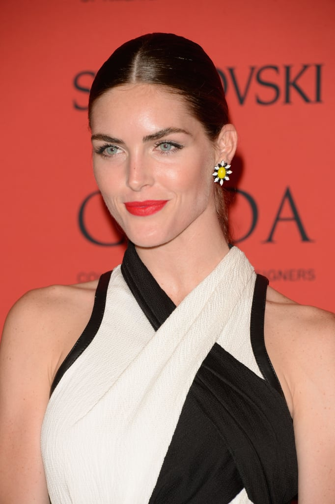 Hilary Rhoda's icy blue eyes got even more of a lift paired up against a vibrant red lip color.