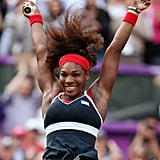 Serena Williams jumps for joy after beating Maria Sharapova and winning the gold medal in the women's tennis finals.