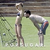 Adam Levine and his girlfriend, Nina Agdal, played volleyball with friends.