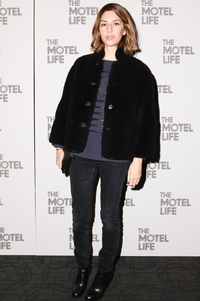Sofia Coppola screened The Motel Life in dark layered separates at the film's New York event.