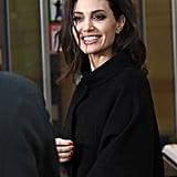 Angelina Jolie Black Off the Shoulder Dress