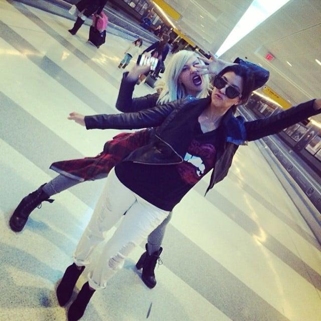Kourtney Kardashian goofed off with her friend. Source: Instagram user kourtneykardash