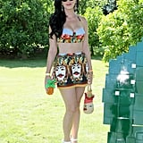 Katy bared her midriff in a Dolce & Gabbana getup while partying at Coachella in April 2013.