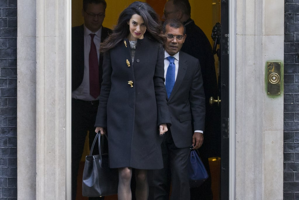 Amal Clooney Pulls a Coat Dress Styling Trick Even Kate Middleton Hasn't Thought of Yet