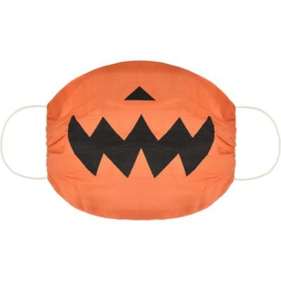 Child Orange Jack-o'-Lantern Face Mask