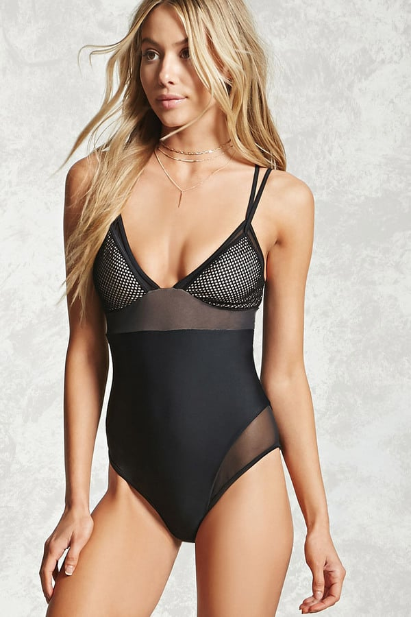 Forever 21 Mesh-Panel One-Piece Swimsuit