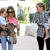 Marion Broderick and Tabitha Broderick contrasted their outfits for a morning out with Sarah Jessica Parker.