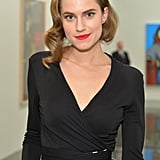 Our jaws hit the floor when we spotted Allison Williams, who stunned in a modern take on vintage style. Her curled faux bob was accented with one bobby pin, and her matte red lipstick drew our eyes in.