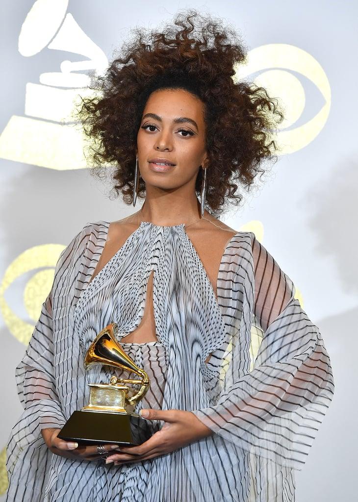 Solange's Mocha-Hued Spirals at the Grammys in 2017