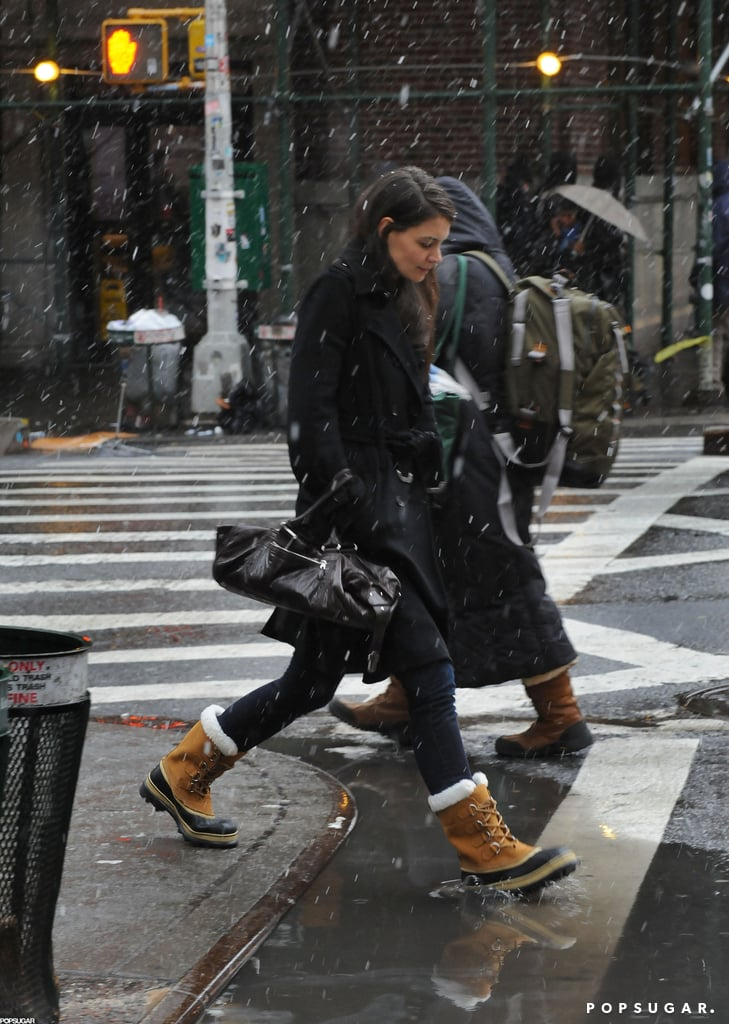 Katie Holmes wore heavy-duty snow boots in NYC Friday.