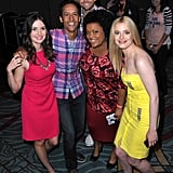 The cast of Community —Joel McHale, Alison Brie, Danny Pudi, Yvette Nicole Brown, and Gillian Jacobs — posed for a friendly photo at the show's panel in 2012.
