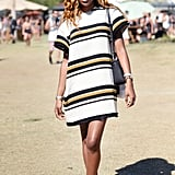 A striped shift dress