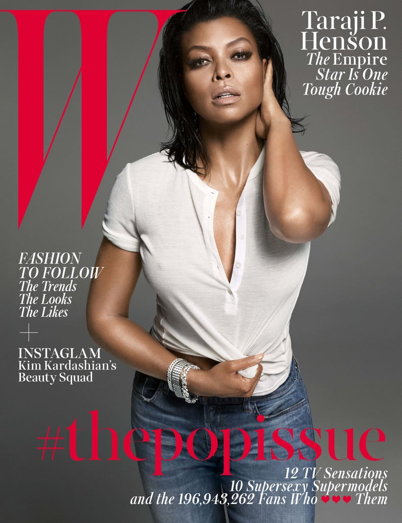 """If you think Taraji P. Henson looks hotter than ever on the cover of W magazine's August issue, then just wait until you see the inside photos. The 44-year-old actress — yes, you read that right — leaves a little more to the imagination in jeans and a slightly sheer t-shirt but goes nearly topless in her editorial. Along with posing for sexy snaps, Taraji opened up about her role as the """"bold, crazy"""" Cookie Lyon on Empire and revealed that she almost turned down the now-infamous part because she thought the show would be """"so stupid."""" She also talked about auditioning to play Brad Pitt's foster mum in The Curious Case of Benjamin Button and how concerned he and wife Angelina Jolie were when she didn't win the Oscar. Keep reading for more quotes (and hot photos) of Taraji in W magazine's Pop Issue."""