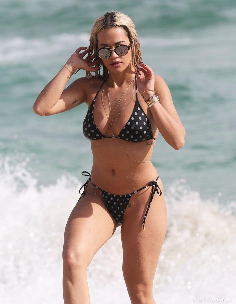Rita Ora sported a tiny polka-dot bikini in Miami back in December 2015.