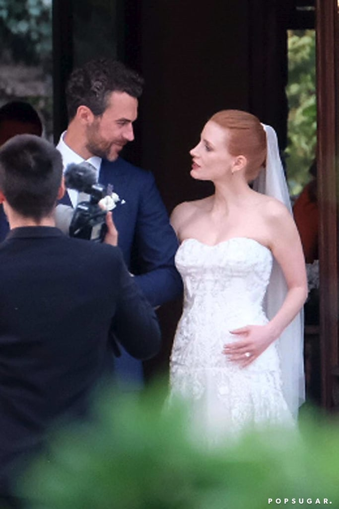 Jessica Chastain's Strapless Wedding Dress Is the Stuff of Minimalist Dreams