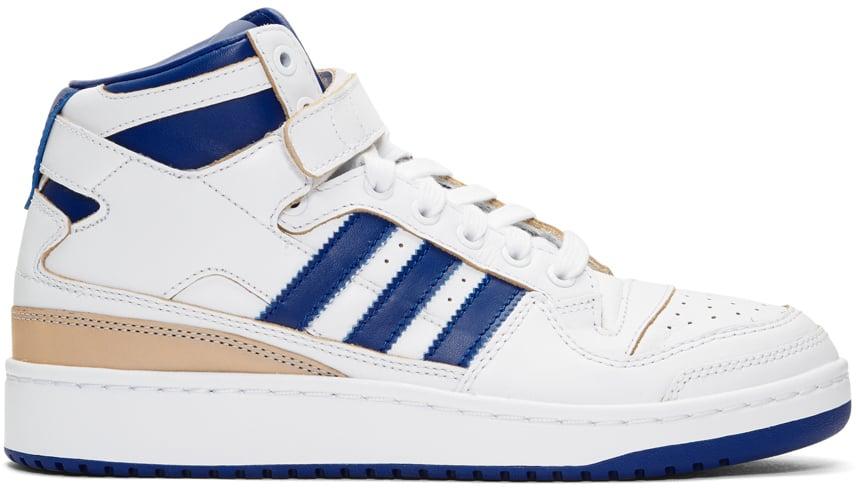 305b2b69e08b Adidas Originals White and Blue Forum Mid Sneakers