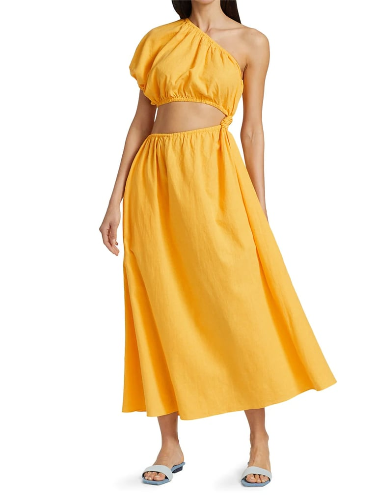 Farm Rio One-Shoulder Open-Waist Midi Dress