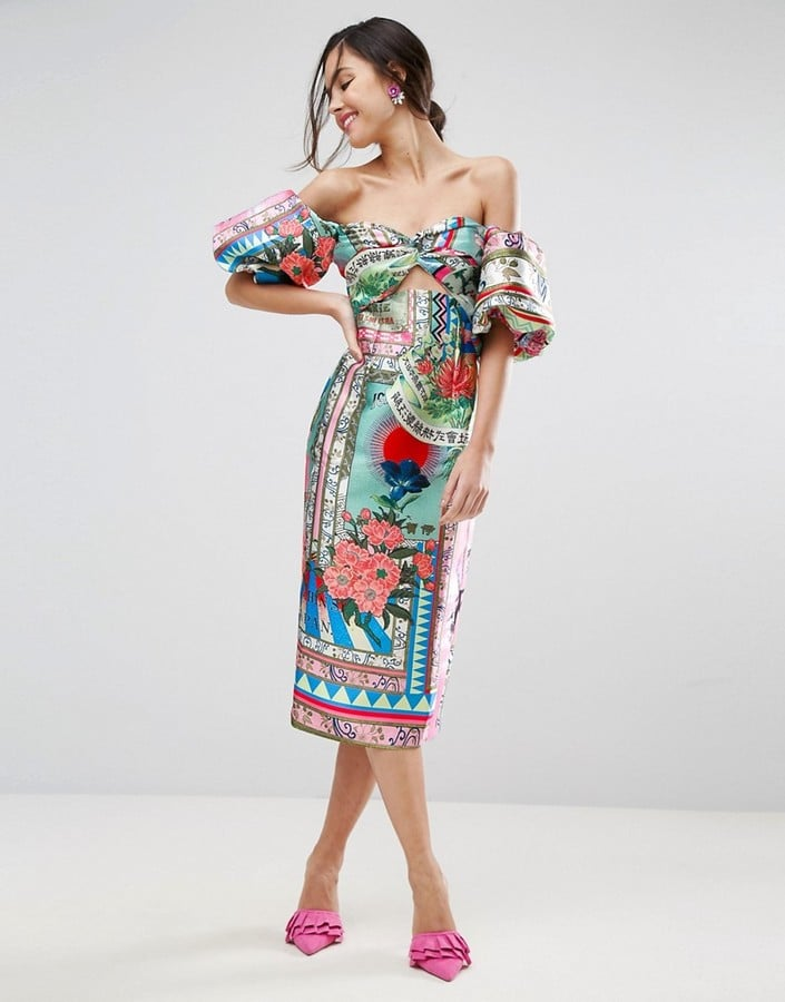 ASOS Havana Extreme Sleeve Pencil Midi Dress