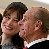 The Duke of Edinburgh charmed Carla Bruni-Sarkozy, wife of French President Nicolas Sarkozy, on March 26, 2008.