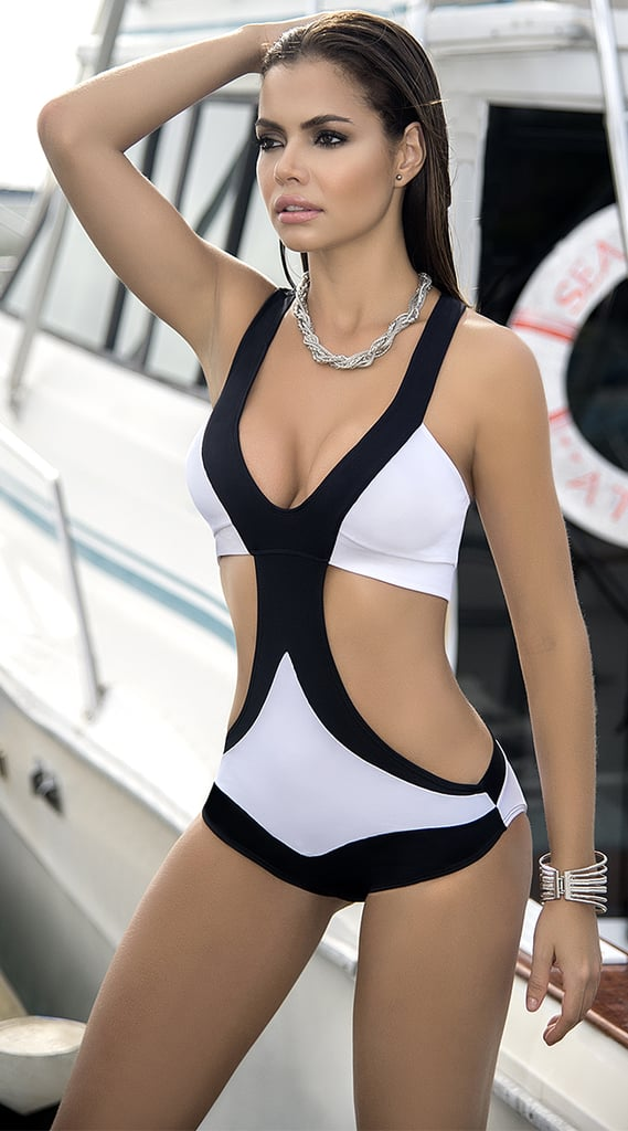 Black and White Blocked Monokini