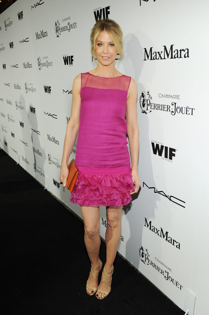 Jenna Elfman delivered major color in her hot-pink ruffle-hem dress, wisely paired with nude Jimmy Choo Lance sandals, at the Women in Film soiree.