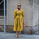 Style a Yellow Dress With a Red Neck Scarf