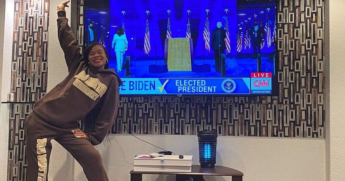 "Storm Reid Celebrated Joe Biden and Kamala Harris's Win Wearing a ""You Matter"" Sweatsuit"