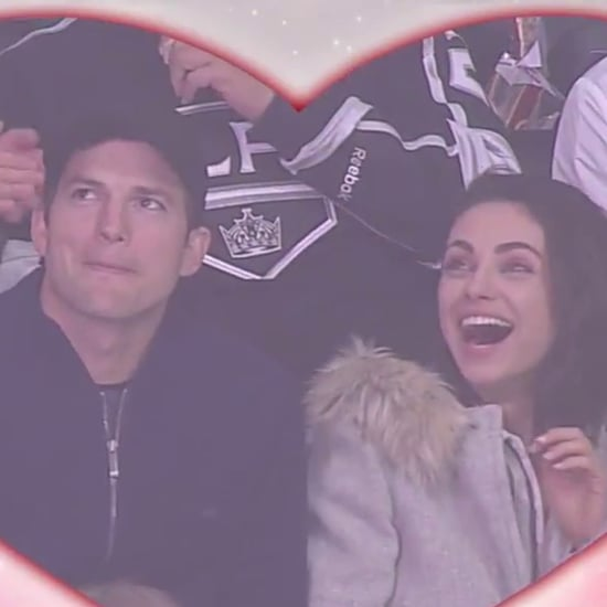 Ashton Kutcher and Mila Kunis Kissing at LA Kings Game 2018