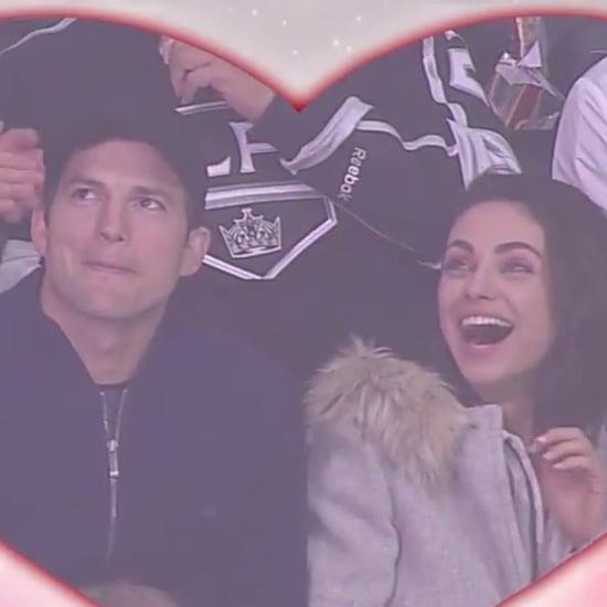 Ashton Kutcher and Mila Kunis Kissing at LA Kings Game 2018