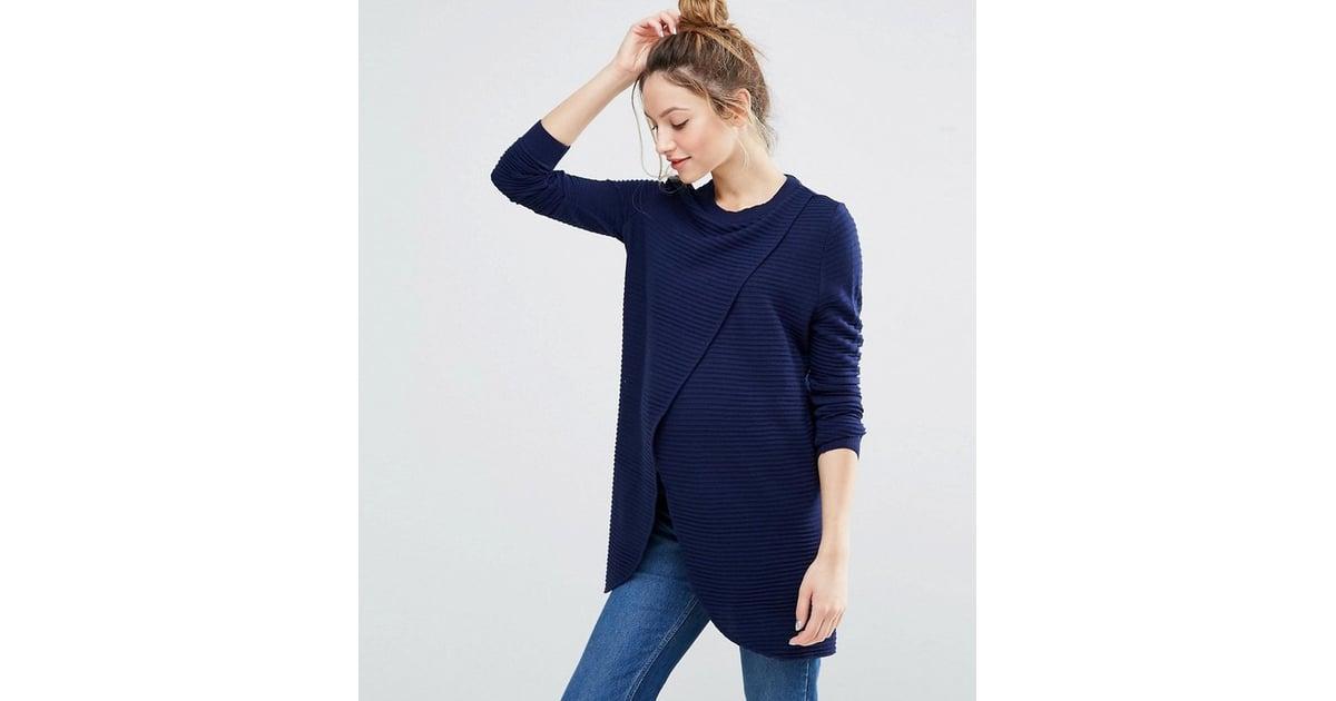 c177235c29ea4 Nursing Wrap Over Sweater in Textured Stripe   Best ASOS Maternity Clothes    POPSUGAR Family Photo 10
