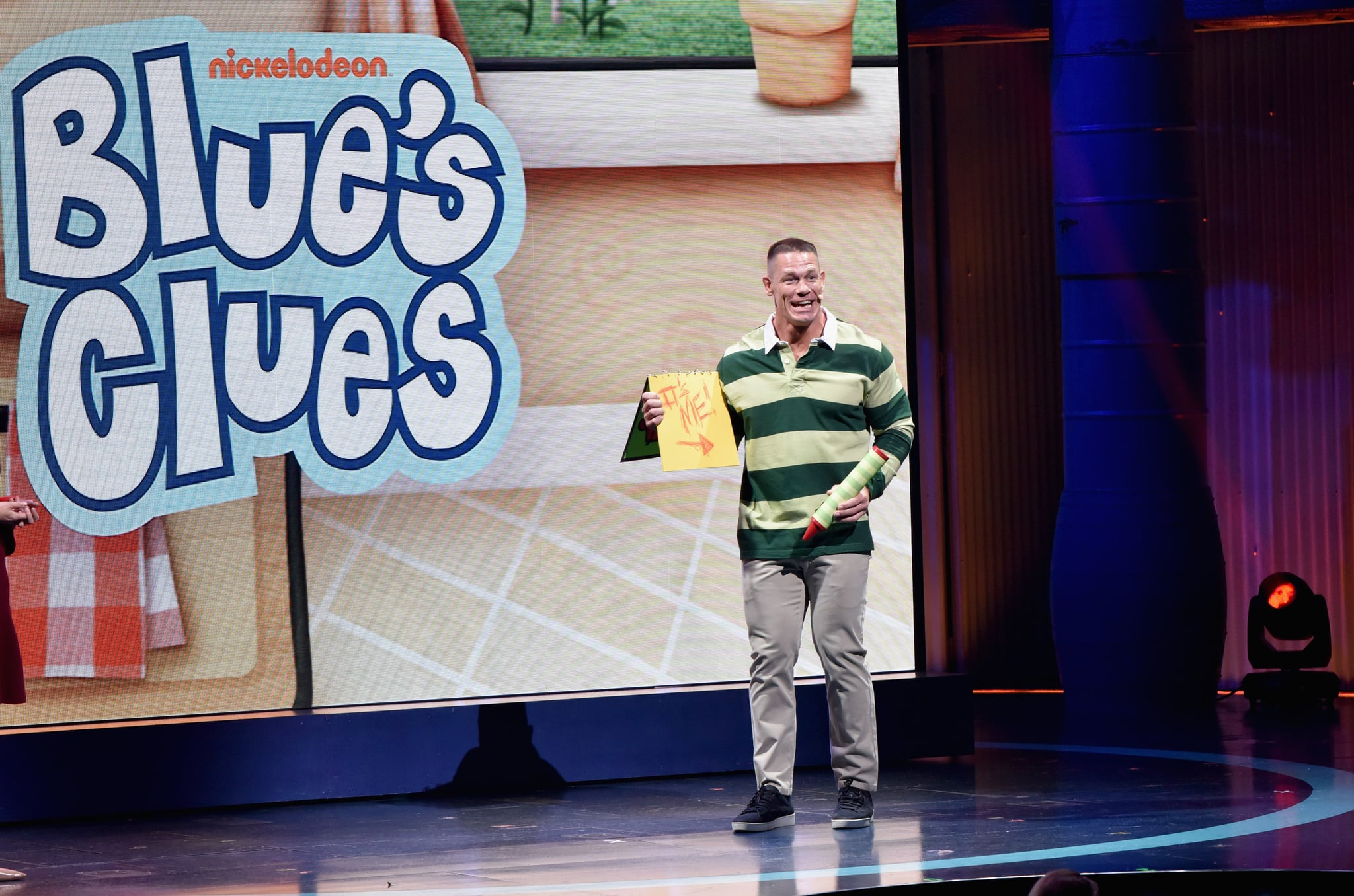 NEW YORK, NY - MARCH 06: John Cena speaks onstage at the Nickelodeon Upfront 2018 at Palace Theatre on March 6, 2018 in New York City. (Photo by Bryan Bedder/Getty Images for New Games Productions Inc. )