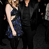 Emma Roberts snuggled up to Julien Macdonald in a cut out dress.