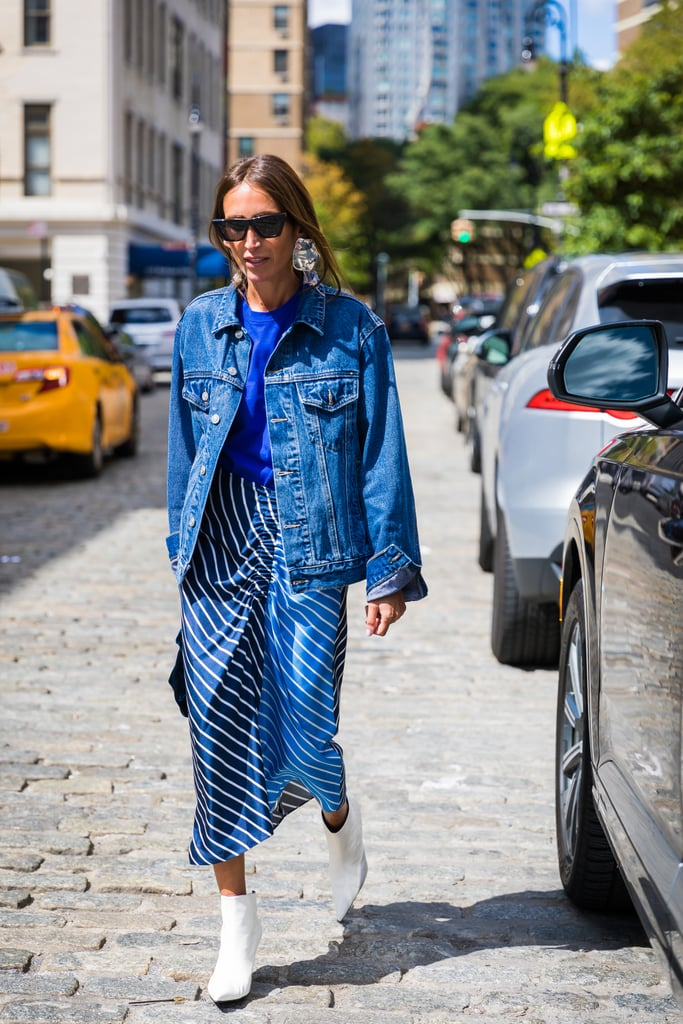 All about proportions — and the stripes — in this look.