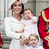 Kate With Charlotte and George at the Trooping the Colour, 2016
