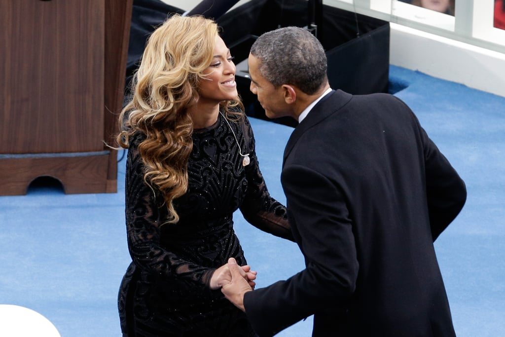 Beyonce and President Barack Obama hugged after her stellar inaugural performance.