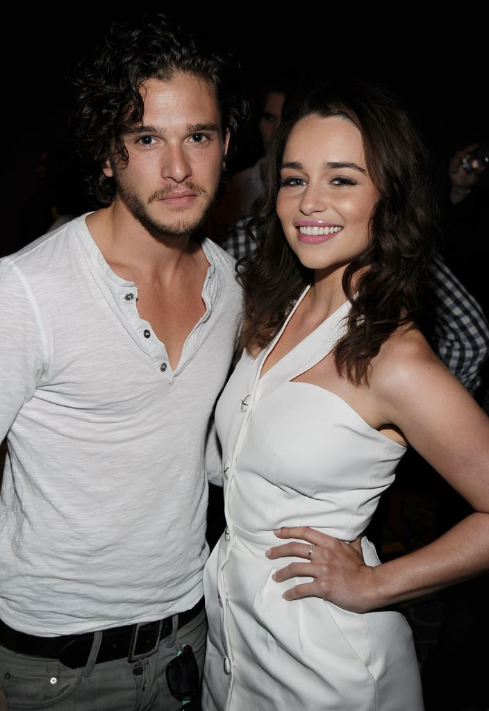 Game of Thrones fans are understandably freaking out about Jon Snow finally meeting Daenerys Targaryen on the show, but honestly, it's just as fun to see Kit Harington and Emilia Clarke hanging out together in real life. The pair has been photographed together at several events over the past few years — along with Kit's girlfriend, former castmate Rose Leslie. Meanwhile, if the latest episode is any indication, it looks like Kit and Emilia's offscreen friendship will translate to great onscreen chemistry. Check out some of their cutest moments together, then see more pictures of the Game of Thrones cast out of costume and peek at some of Kit's sexiest snaps ever.