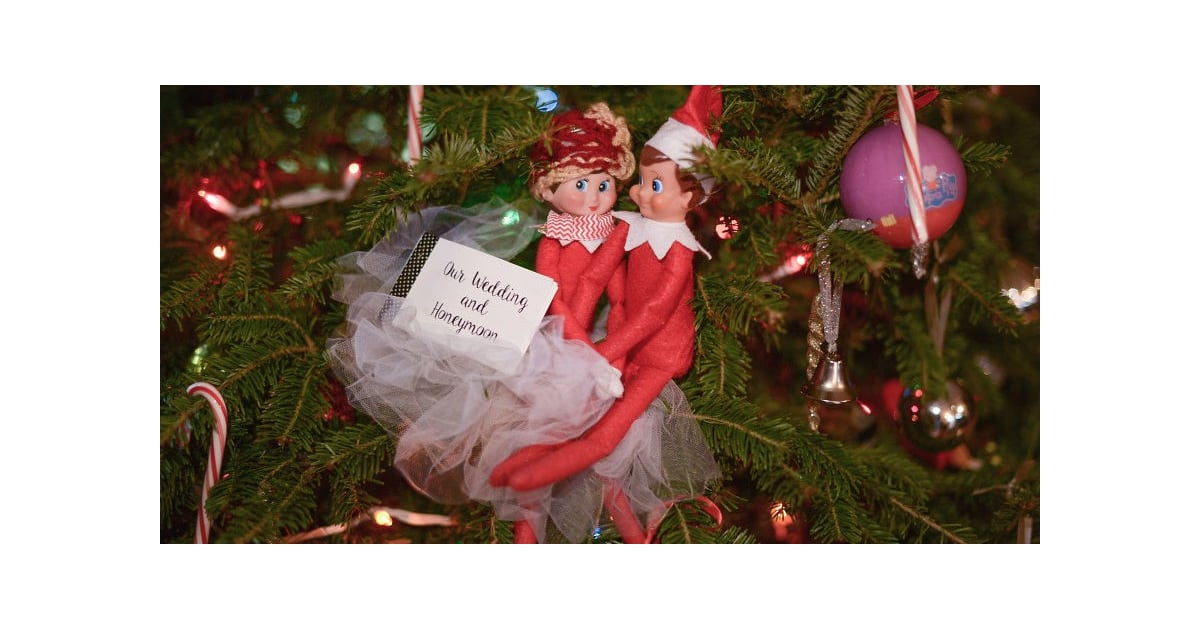 mom creates elf on the shelf wedding and honeymoon