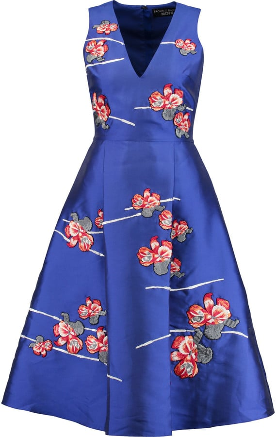 Noir Sachin & Babi Estelita Floral-Appliquéd Satin-Twill Dress