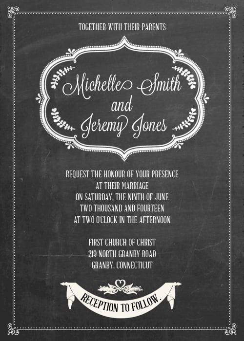 Chalkboard Wedding Invitation | Free Printable Wedding Invitations