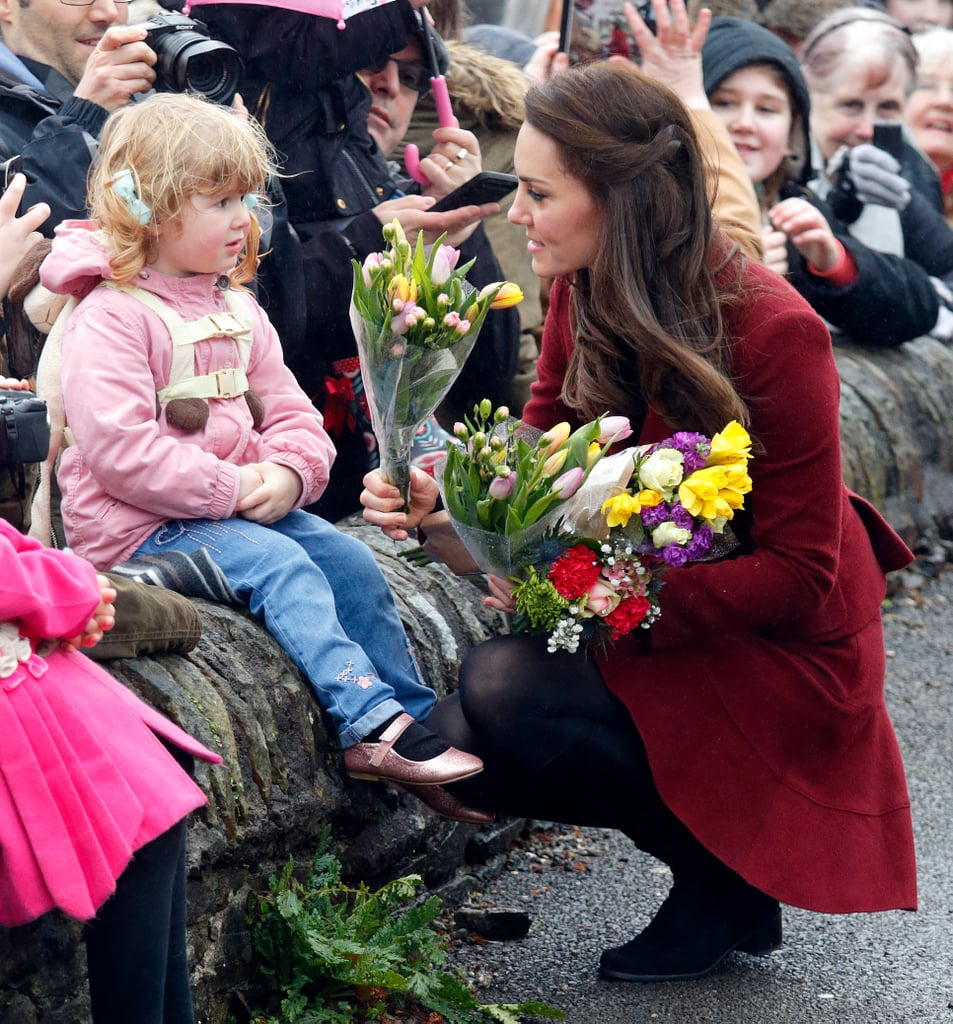 Kate was given flowers by a young girl in Wales in February 2017.