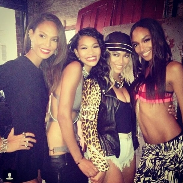 In the ultimate It girl photo, Chanel Iman cozied up to Beyoncé, Joan Smalls, and Jourdan Dunn. Source: Instagram user chaneliman