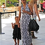 Nahla Aubry wore butterfly face paint for her trip to the mall with Halle Berry.