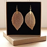 estherdobsonart 18K Gold Dipped Real Leaf Earrings