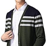 Zimaes-Men Sweater Essential Fine Gauge Striped Slim Tailoring Cardigan
