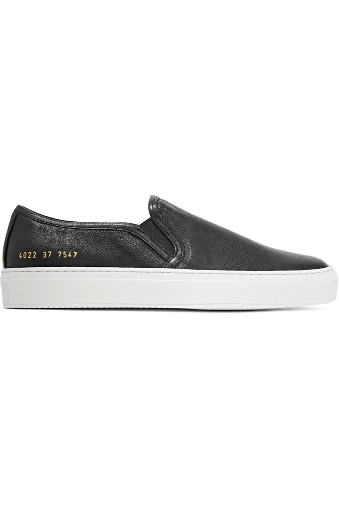 Common Projects Tournament Leather Slip-On Sneakers — Black