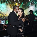 Kim Kardashian and Kanye West's excitement over their baby news was evident in this capture of their NYE celebrations in Las Vegas.