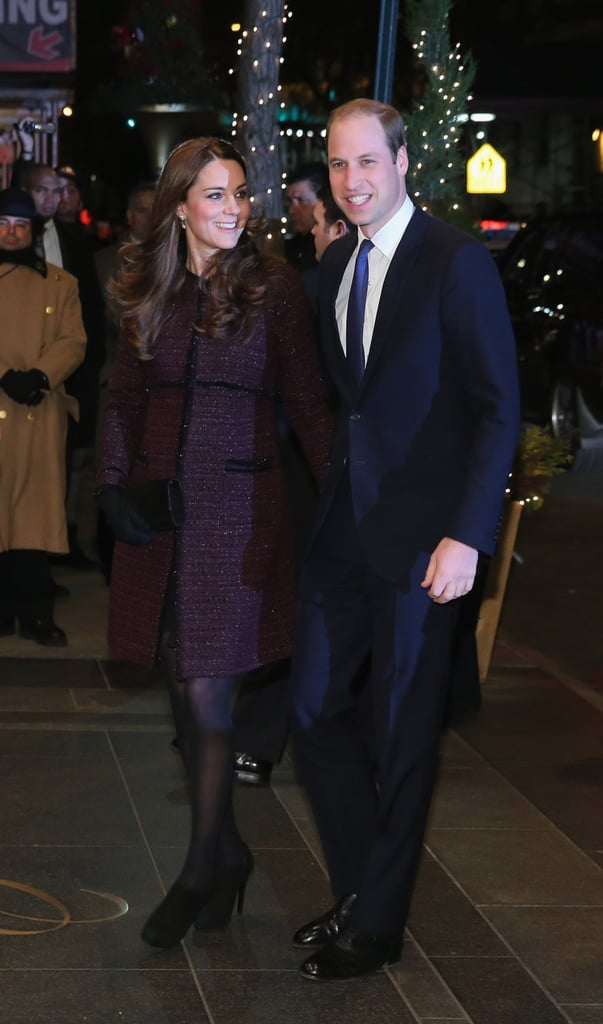 Kate Paired Her Deep Plum Seraphine Coat With All-Black Accessories For Her NY Arrival
