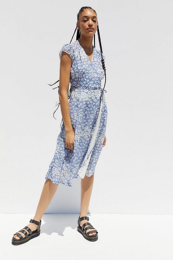 UO Jessica Cap Sleeve Wrap Dress