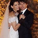 Katie Holmes and Tom Cruise were the picture of happiness on their wedding day in November 2006.